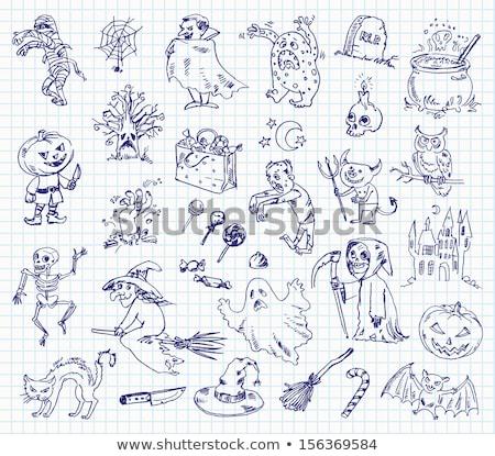 Lijn tekening halloween kasteel illustratie huis Stockfoto © Blue_daemon