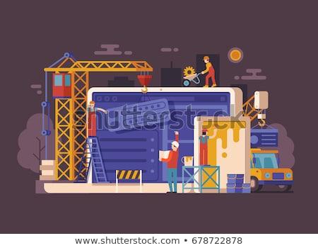 Сток-фото: строительство · баннер · ноутбук · движения · дорожный · знак · 3d · иллюстрации