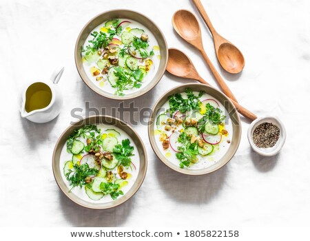 Cold cucumber soup with dill and yogurt Stock photo © Melnyk