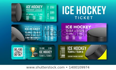 Stylish Design Ice Hockey Game Tickets Set Vector Stock photo © pikepicture