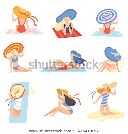Illustratie ingesteld zonnebaden jonge vrouw top Stockfoto © Sonya_illustrations