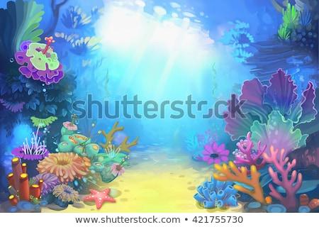 Sub apă pădure scena ilustrare mare fundal Imagine de stoc © bluering