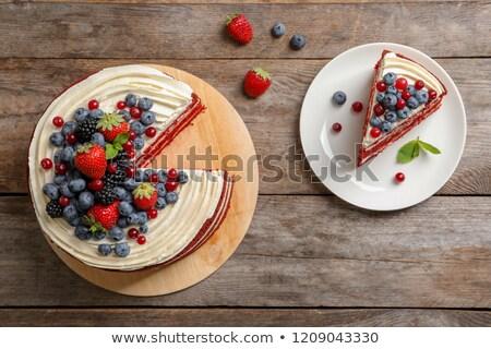 Cakes with Berries on Top, Sweet Bakery on Plate Stock photo © robuart
