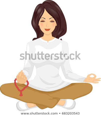 Girl Meditation Mala Beads Illustration Stock photo © lenm