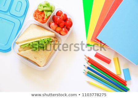 vruchten · notebook · tabel · top · voedsel - stockfoto © dolgachov