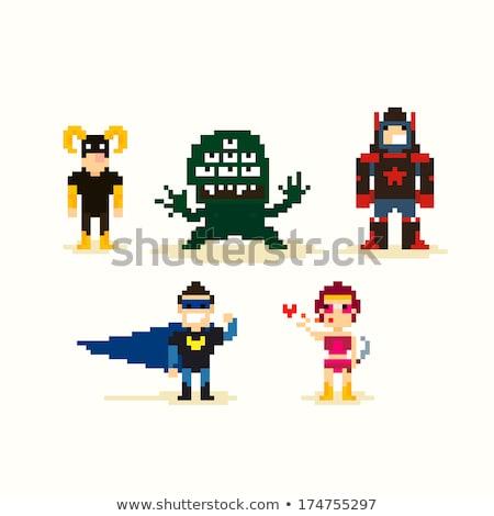 ピクセル ゲーム 男性 文字 スーパーヒーロー 男性 ストックフォト © robuart