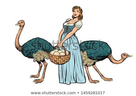 Avestruz granja huevos mujer campesino agricultor Foto stock © studiostoks