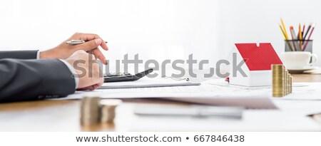 Foto stock: Imposto · ver · mesa · de · madeira · negócio · computador