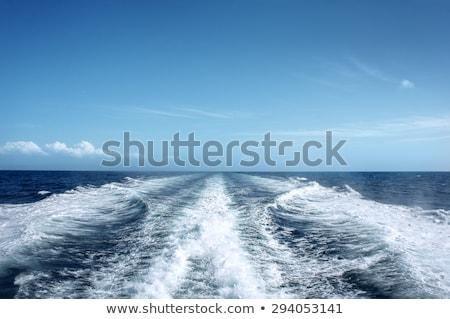 boat wake ferry cruise wash foam blue sea stock photo © lunamarina