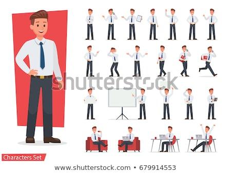 zakenman · lopen · haast · papieren · business · illustratie - stockfoto © robuart