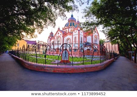 Synagogue coloré matin vue région Serbie Photo stock © xbrchx