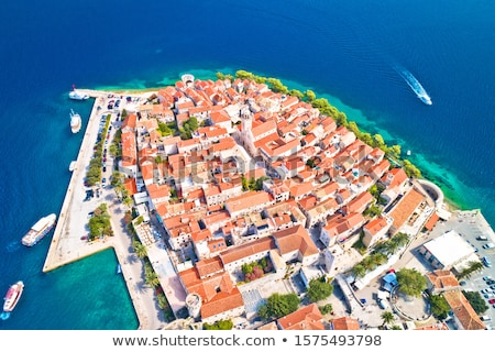 Historic town of Korcula aerial panoramic view Stock photo © xbrchx
