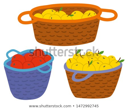 Straw Baskets with Yellow and Red Apples Vector Stock photo © robuart