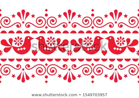 Scandi style textile design or frame background with birds, swirls and flowers Stock photo © RedKoala