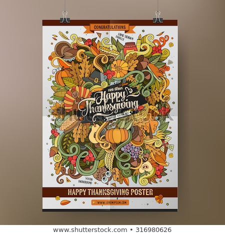 cartoon colorful hand drawn doodles happy thanksgiving poster template stock photo © balabolka