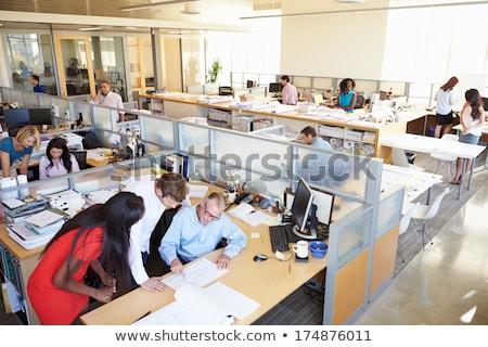 sorridente · homem · mulher · trabalhando · arquiteto · escritório - foto stock © dolgachov