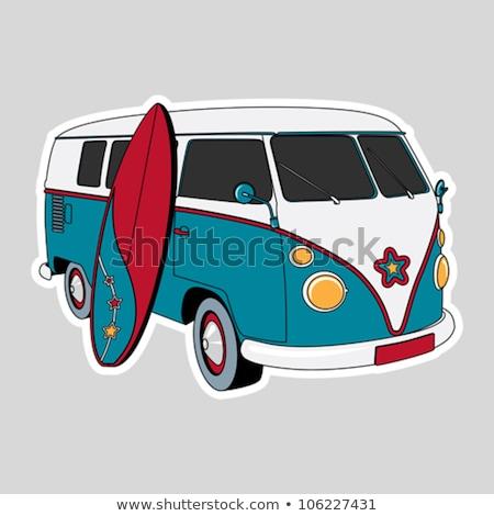 Surfowania retro van kolor wektora Zdjęcia stock © pikepicture