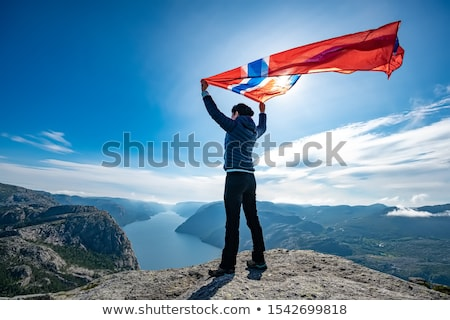 Woman with a waving flag of Norway on the background of nature Stock photo © cookelma