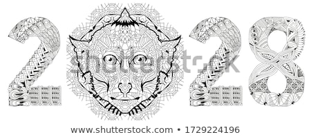 Zentangle stylized monkey number 2028. Hand Drawn lace vector illustration for coloring Stock photo © Natalia_1947