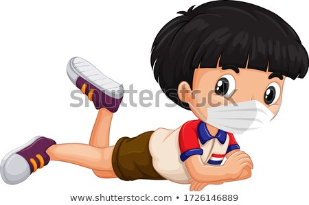 Holland fiú rajzfilmfigura visel maszk illusztráció Stock fotó © bluering
