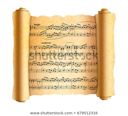 Complicated abstract melody notes on old textured scroll on white Stock photo © evgeny89