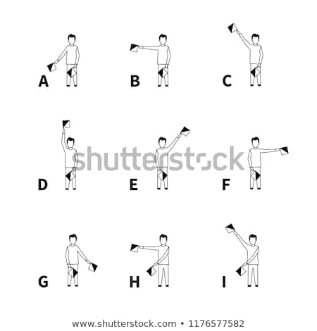 Semaphore signals alphabet, black latin letters Stock photo © evgeny89