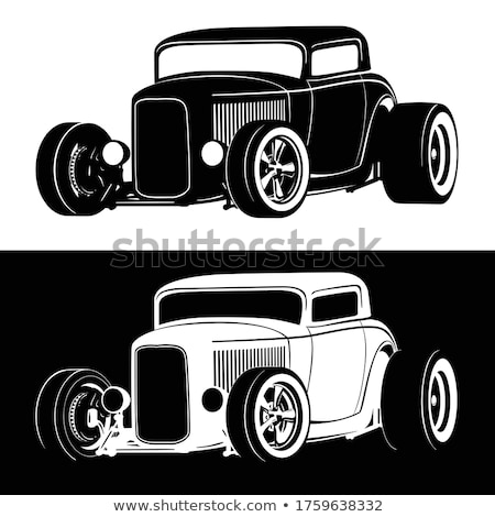 Classic American Hot Rod car isolated vector illustration in both black on white and white on black  Stock photo © jeff_hobrath