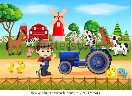 Farm scene with farmer and many animals on the farm Stock photo © bluering