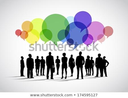 Sziluett fiatalok szövegbuborékok sok különböző színes Stock fotó © marish