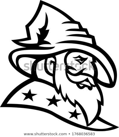 Wizard Warlock or Sorcerer with Three Stars Mascot Black and White Stock photo © patrimonio