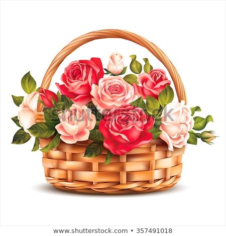 Сток-фото: корзины · цветы · окна · подсолнечника · лента · лук