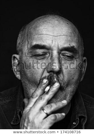 Closeup Artistic Photo of Aged Man With  Grey Mustache, grain added Stock photo © zurijeta