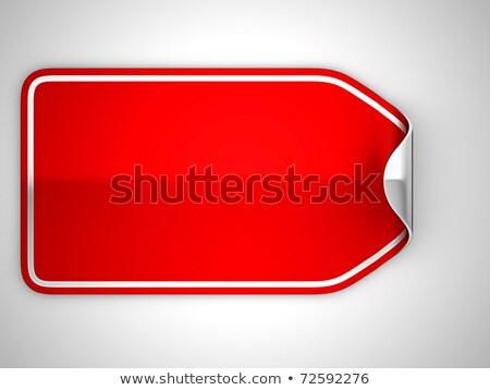 Red Bent Badge Or Label Over Grey Stok fotoğraf © Arsgera