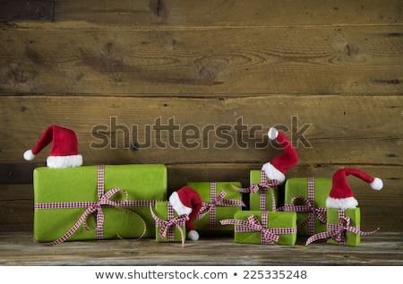 Karácsony alma ajándék barna papír kép takarékos Stock fotó © frannyanne