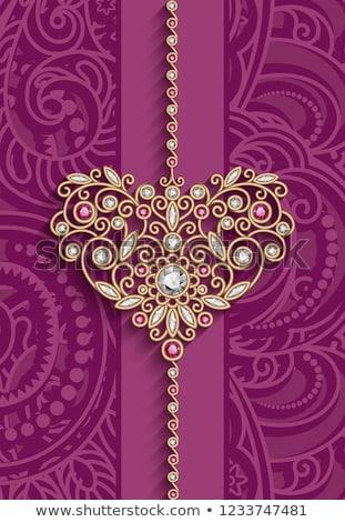 Foto stock: Vetor · roxo · diamante · jóia · coração