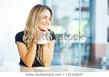 beautiful happy woman with a cup of espresso coffee stock photo © Rob_Stark