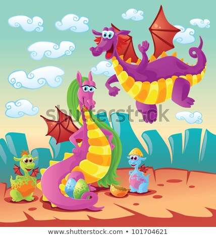 Dragon family scene Stock photo © sigur
