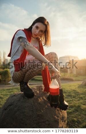 Altın fishnet kız klasik artistik çıplaklık Stok fotoğraf © dolgachov