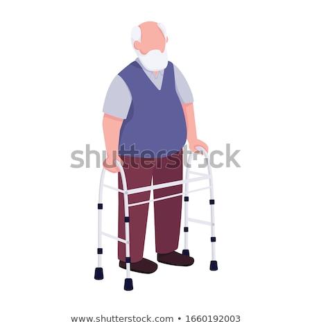 Homem muleta isolado branco médico fundo Foto stock © Kurhan