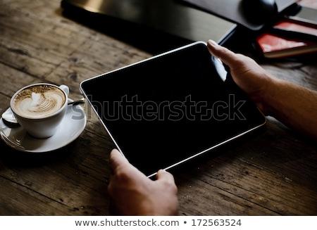 Stock fotó: Csésze · kávé · táblagép · könyv · laptop · technológia