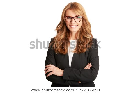 Businesswoman with crossed arms wearing glasses Stock photo © stockyimages
