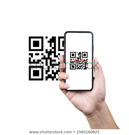 Stockfoto: Qr · code · mobiele · telefoon · menselijke · handen
