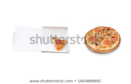 slice pizza in a takeaway box and big pizza on plate stock photo © ozaiachin