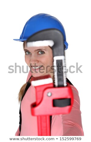 Stock foto: The Jaw Of A Pipe Wrench Framing A Womans Eye