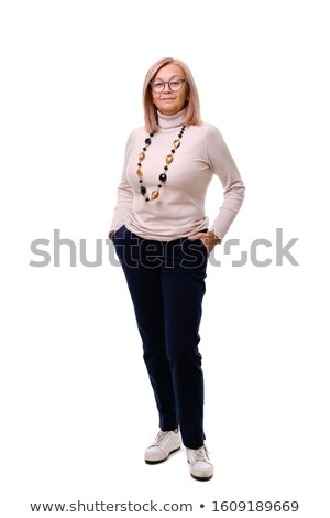 smiling blonde business woman in full-lengh Stock photo © carlodapino