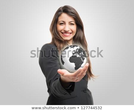 Kobieta interesu świecie biuro szczęśliwy ziemi Zdjęcia stock © wavebreak_media