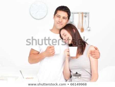 Foto stock: Casal · potável · café · café · da · manhã · cozinha · sorrir