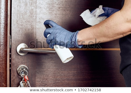 ストックフォト: ドア · 古い · ゲート · 男 · 錆 · ロック