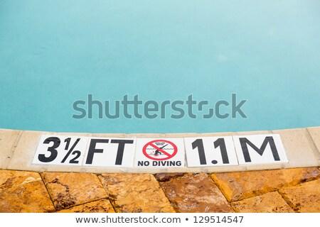 Stockfoto: Vijf · voeten · zwembad · teken · tonen · rand