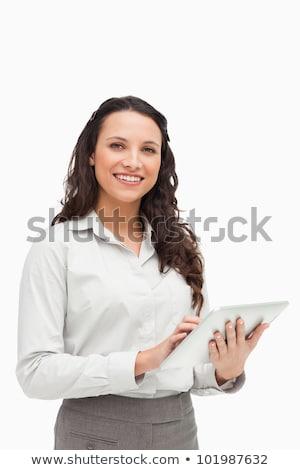Foto stock: Mulher · ebook · branco · feliz · terno · executivo